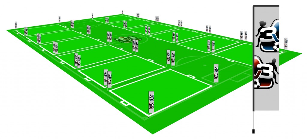 3v3.futbol field with 12 3v3 courts and sponsor banners
